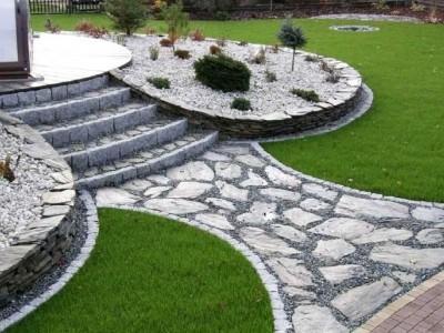 droga ze schodami z kamieni